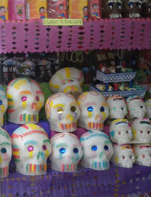 Yummy sugar skulls are traditional to Dia de Los Muertos