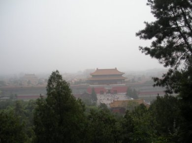 Smoggy view of Forbidden City