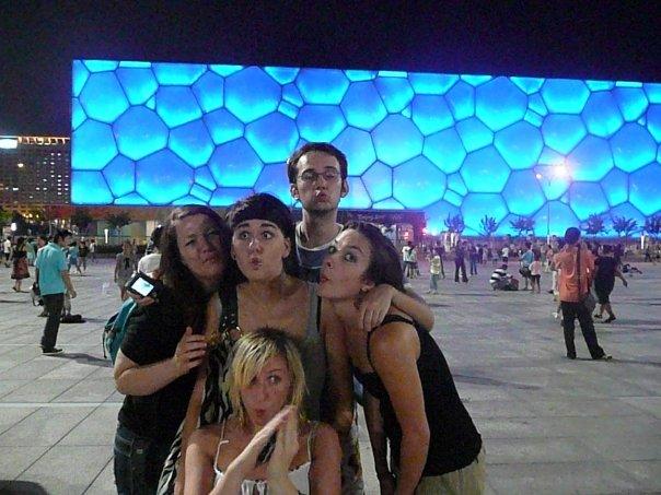 All pretending to be strange fish outside Beijing Olympic Pool