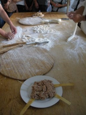 Preparing the dumplings