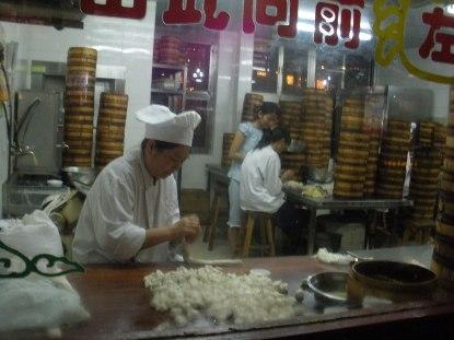 Hard at work in the dumpling kitchen