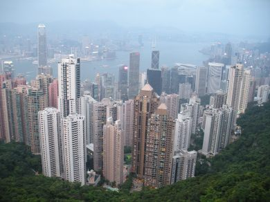 At the top of the peak Hong Kong looks like a toy town