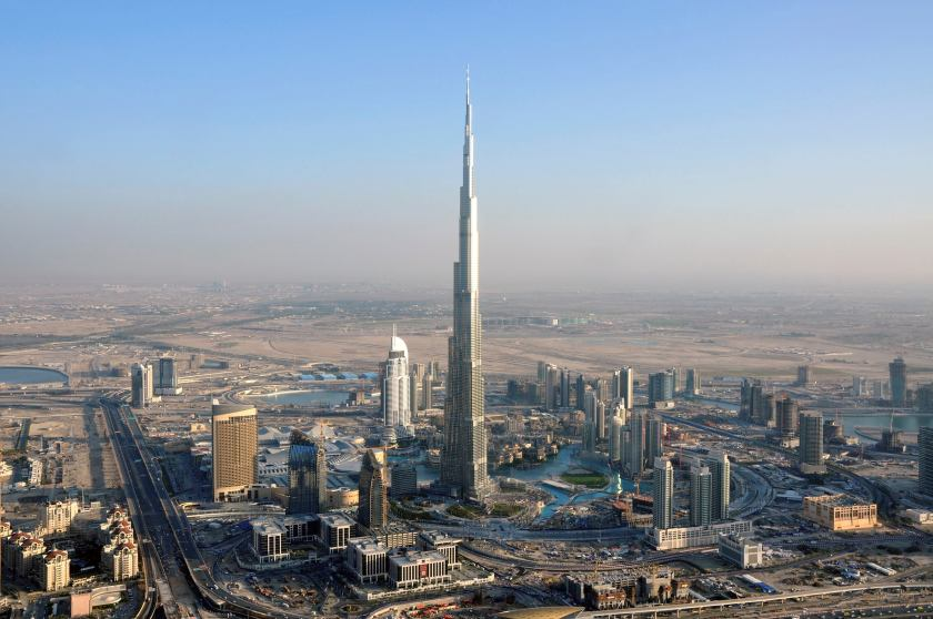 An aerial view of Burj Khalifa - the tallest artificial structure in the world