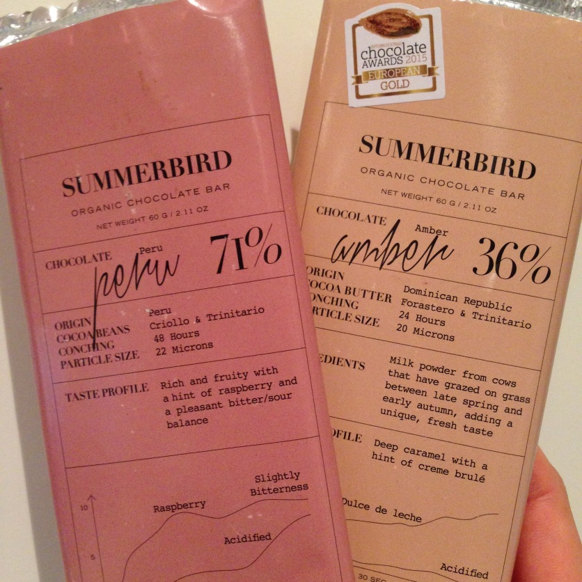 Two of Summerbird's best-selling, award-winning chocolate bars