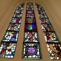 The grand stained glass windows