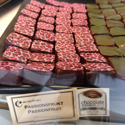 A fine display of award winning couture chocolates - Cafaofoni, Malmo Sweden