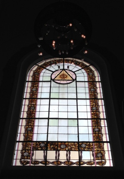 The Freemason's 'eye' symbol looks very similar to the eye of this stained glass window
