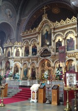 Inside Russian Ortodox churches are extremely grand with gold filigree