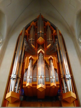 The grand organ makes up for the simplicity of the interior