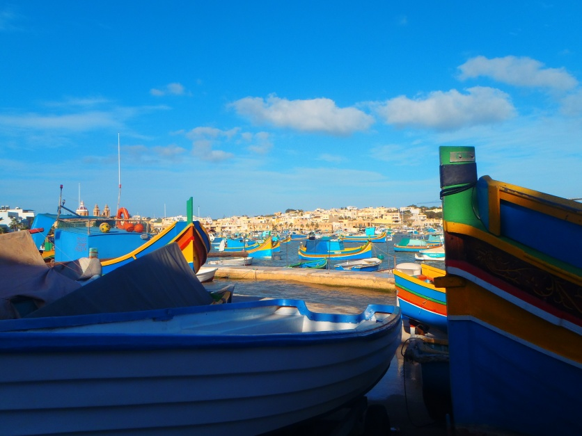 The famous multi-coloured fishing boats
