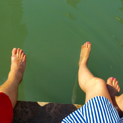 Toe dipping in the canal