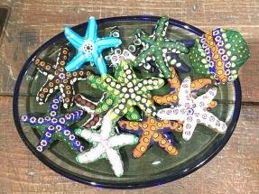 Glass blown star fish ornaments