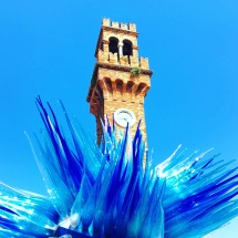 The famous blue spiky glass structure of Burano island