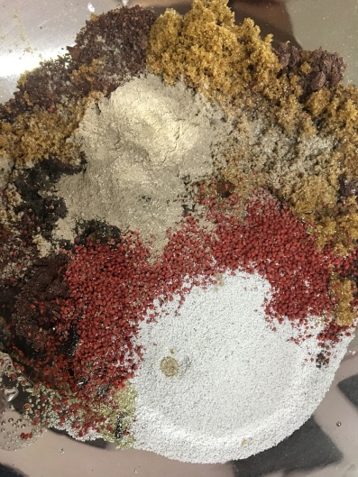Components of a chocolate body scrub