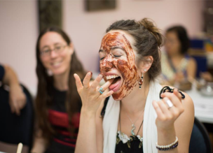 Eating the chocolate face mask